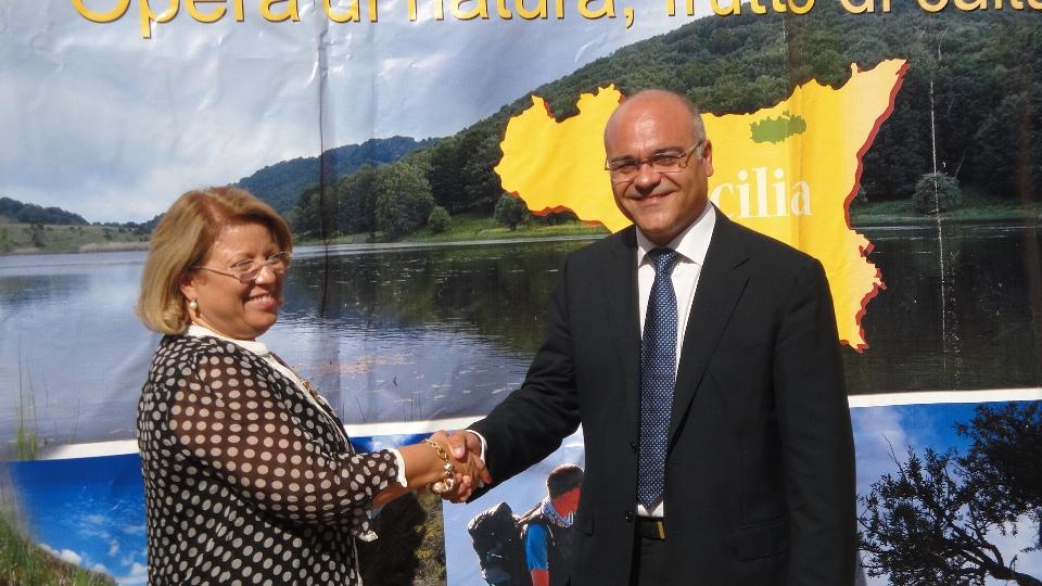 L'assessore regionale Territorio e Ambiente Mariella Lo Bello con il presidente del Parco dei Nebrodi Giuseppe Antoci